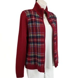 Eddie Bauer cardigan zip front plaid red L
